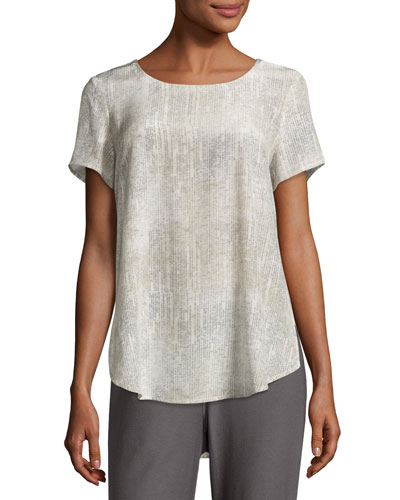 Metaphor Printed Silk Short-Sleeve Blouse, Almond, Petite
