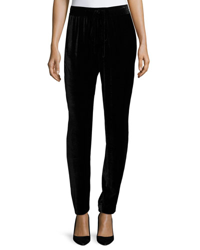 Bianca Silk Velvet Ankle Pants, Black