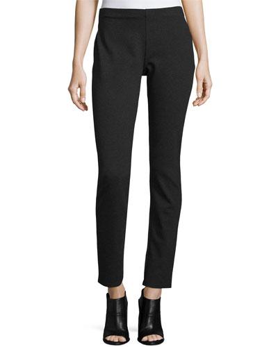 Slim Ponte Pants, Petite, Charcoal, Plus Size
