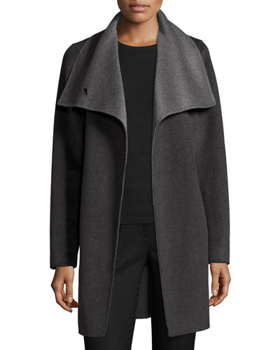 Oversized Two-Tone Belted Wool Coat, Charcoal/Gray