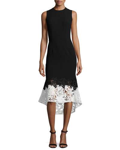 Sleeveless Lace & Crepe Fit-and-Flare Dress, Onyx