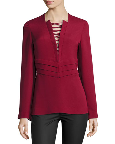 Luana Lace-Up Crepe Top, Wine