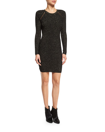 Metallic Jacquard Sheath Dress, Black/Gold