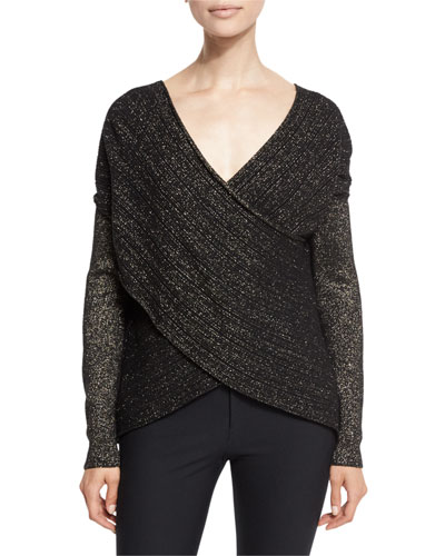 Cross-Front Metallic Wool-Blend Sweater, Black/Gold
