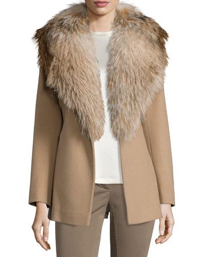 Belted Fur-Trim Wrap Coat, Camel