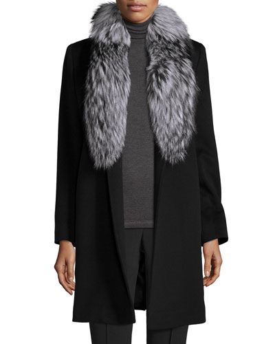 Belted Fur-Trim Wrap Coat, Black