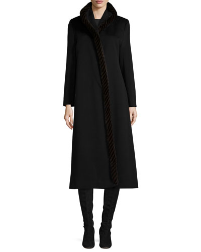 Long Wool Coat w/ Mink Fur, Black