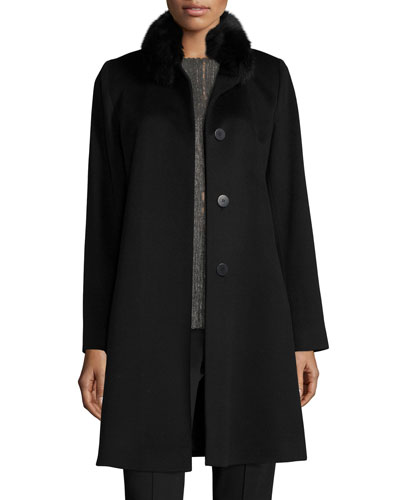 Fox-Trim Wool Button-Front Coat, Black