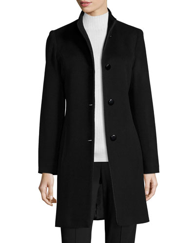 Mock-Neck Wool Coat, Black