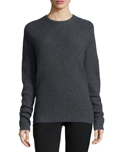 Peter Ribbed Open-Back Sweater, Flannel