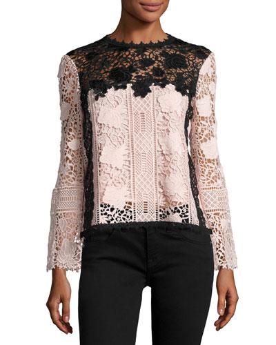 Long-Sleeve Lace Colorblock Top, Black/Blush