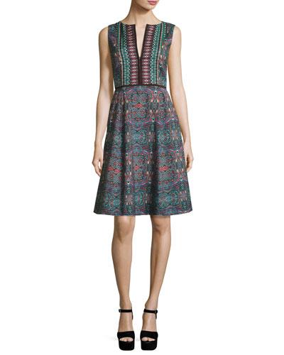 Sleeveless Kaleidoscope A-Line Dress, Dark Green