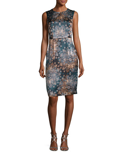 Sleeveless Floral Silk Sheath Dress, Dark Green