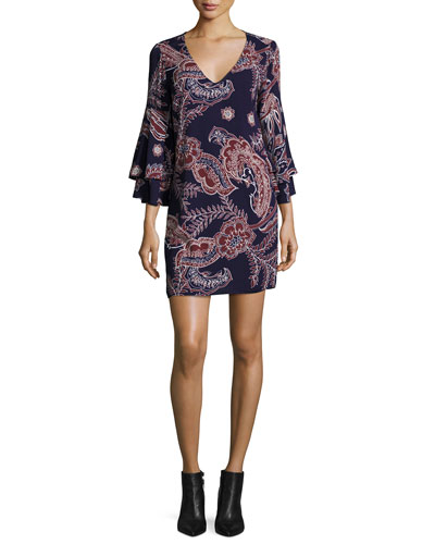 Riya Tiered-Sleeve Paisley Dress