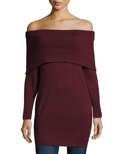 Jodi Off-the-Shoulder Tunic Sweater, Port