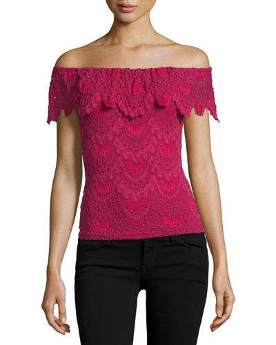Positano Off-the-Shoulder Lace Top, Sangria
