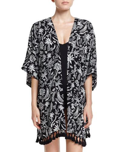 Palm Print Kimono Jacket Coverup, Black