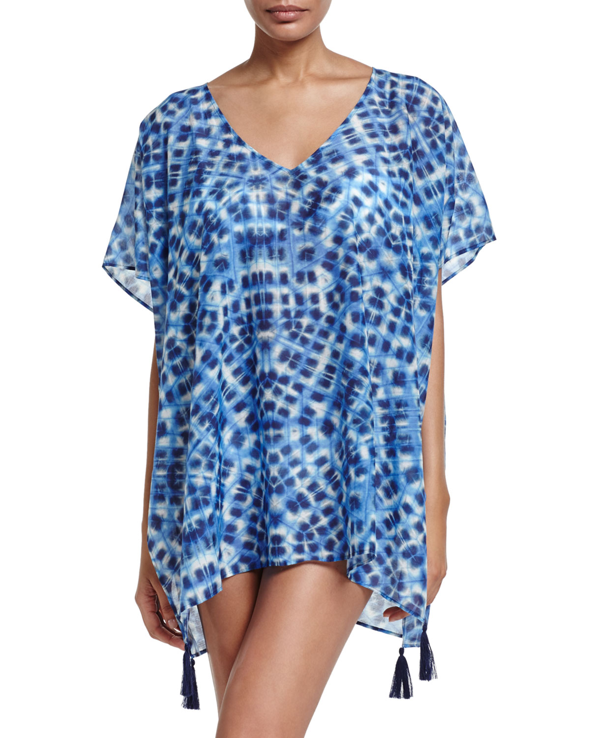 Ikat-Print Caftan Coverup, One Size
