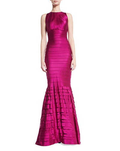 Tiered Stretch Satin Mermaid Gown, Burgundy
