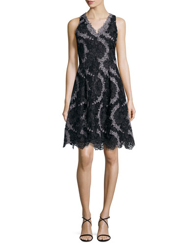 Sleeveless Printed Floral Lace Cocktail Dress, Black/Gunmetal