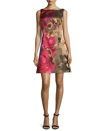 Sleeveless Floral Taffeta Cocktail Dress, Pink/Multicolor