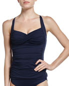 Twist Halter Singlet Swim Top, Indigo