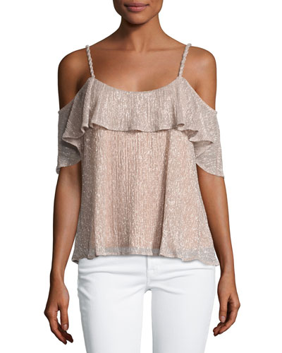Cerine Cold-Shoulder Ruffle Top, Pink Champagne