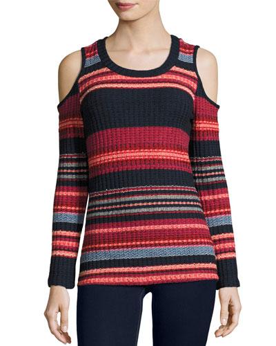 Laurence Cold-Shoulder Multi-Stripe Ribbed Top, Scarlet Multi