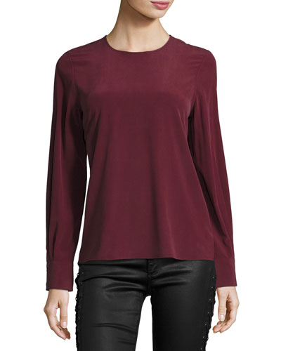 Long-Sleeve Silk Blouse, Wine