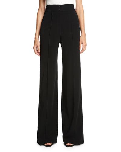 Debra High-Rise Wide-Leg Pants, Black