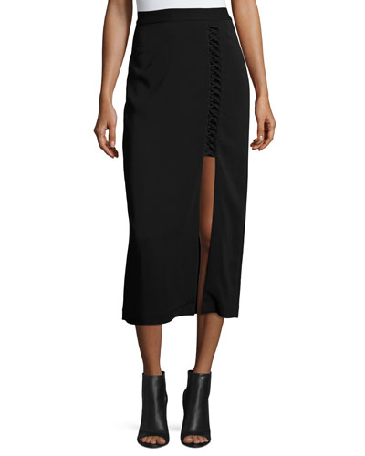 Steve Ponte Midi Skirt, Black