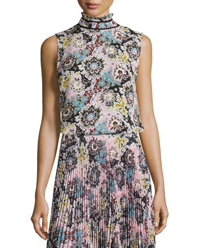 Phoebe Sleeveless Floral Silk Top, Pink/Blue/Mustard