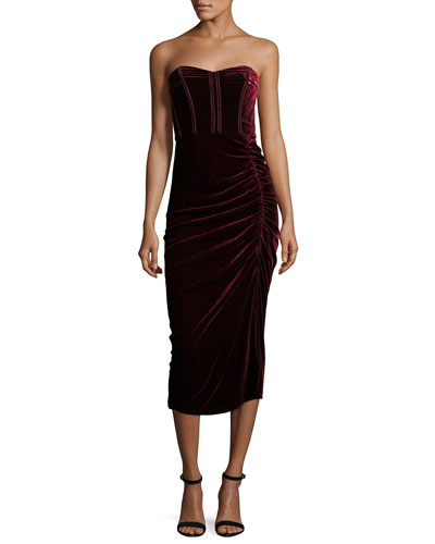 Plaza Strapless Velvet Midi Dress, Wine