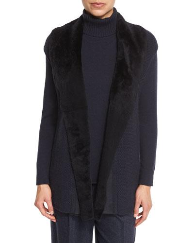 Long Cap-Sleeve Vest w/ Fur Collar, Ink, Plus Size
