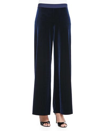 Velour Wide-Leg Pants, Navy, Plus Size
