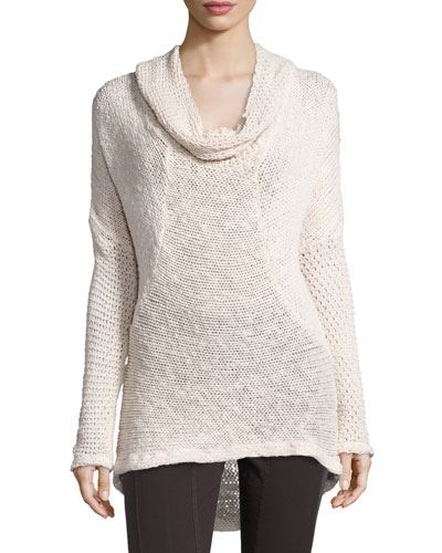 Diamante-Knit Cotton Sweater, Sugar, Plus Size