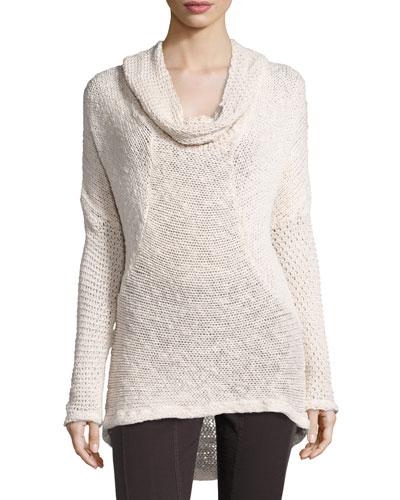 Diamante-Knit Cotton Sweater, Sugar