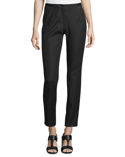 Stanton Ribbon-Trimmed Tapered Ankle Pants, Black, Plus Size