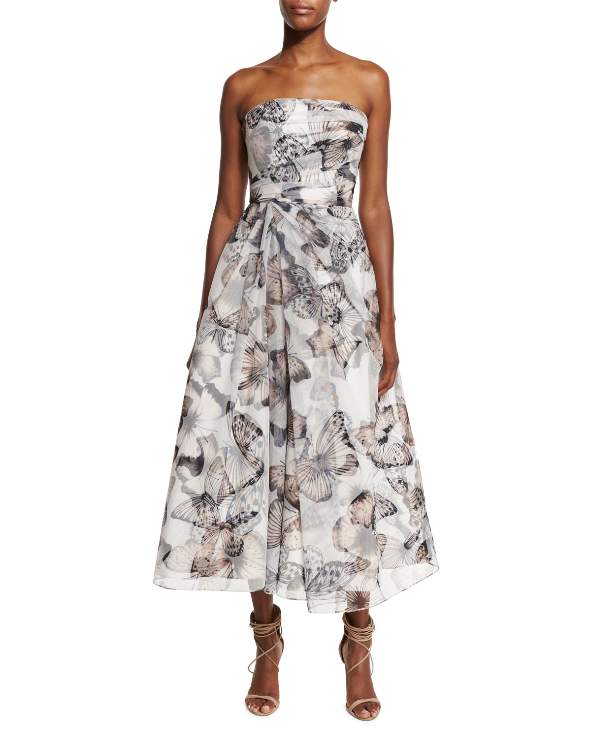 Strapless Butterfly-Print Midi Cocktail Dress, Black/Multicolor