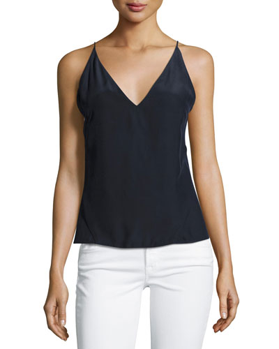 Lucy Silk Camisole Top, Navy