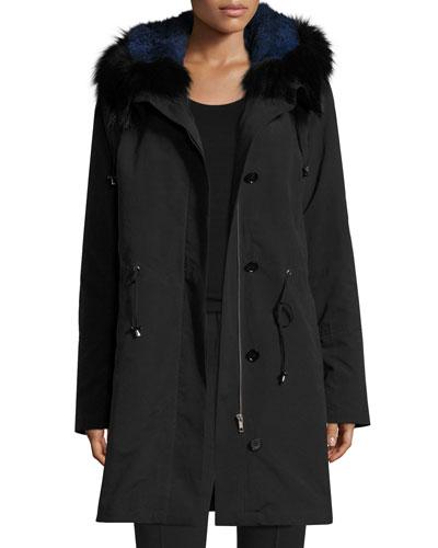 Hooded Fur-Trim Coat w/ Removable Fur Lining, Black/Blue