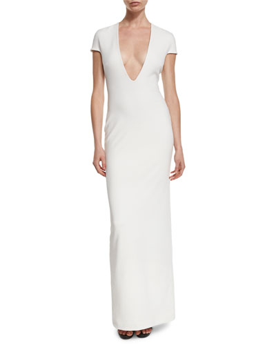 Mason Short-Sleeve Ponte Maxi Dress, Cream