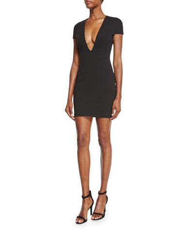 Tamara Short-Sleeve Ponte Sheath Dress, Black