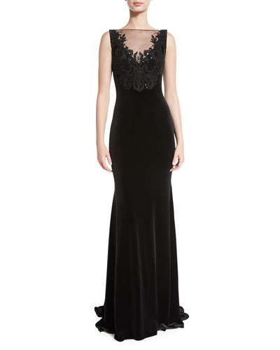 Sleeveless Embroidered Velvet Illusion Gown, Black