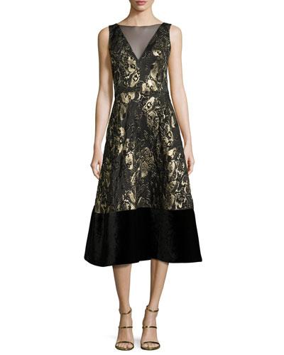 Sleeveless Floral Metallic Midi Dress, Black/Gold