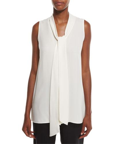 Dana Sleeveless Tie-Front Silk Blouse, Plus Size