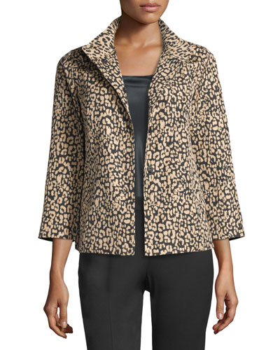 Vanna Leopard-Print Jacket, Black/Multi, Plus Size