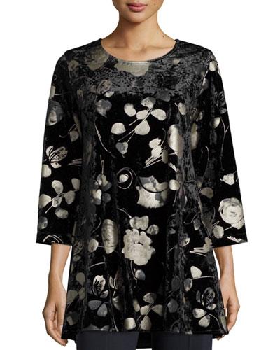 3/4-Sleeve Panne Velvet Tunic W/ Shimmer, Black, Petite
