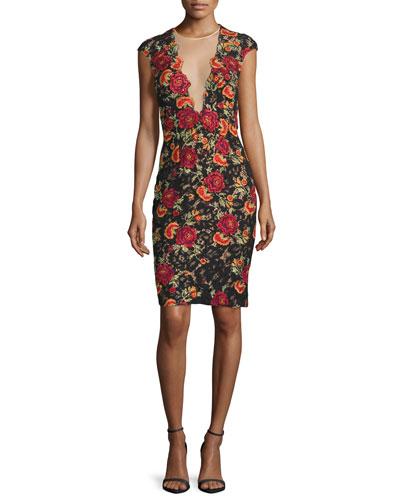 Cap-Sleeve Floral Open-Back Sheath Dress, Black/Multicolor