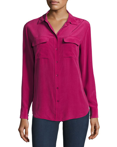 Slim Signature Long-Sleeve Shirt, Damson